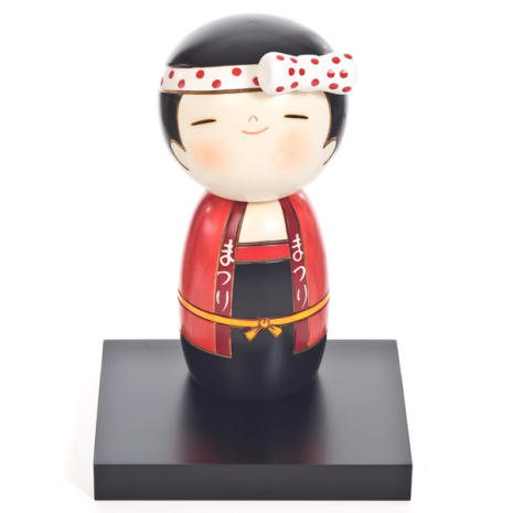 Lucky Girl Cute Wooden Kokeshi Doll with stand
