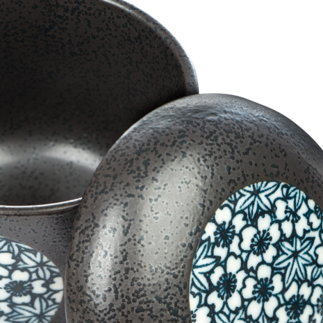 Grey and Blue Japanese Chawanmushi Pot detail
