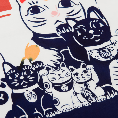 Lucky Cat Tenugui Japanese Wall Hanging Set detail
