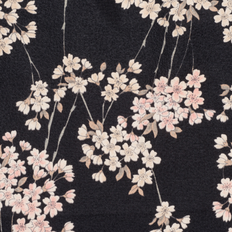 Black Cherry Blossom Ladies Japanese Handkerchief detail