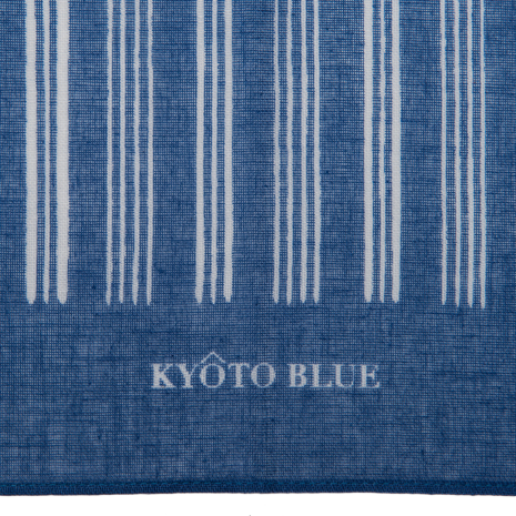 Blue Stripe Japanese Cotton Handkerchief detail
