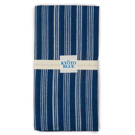 Blue Stripe Japanese Cotton Handkerchief folded