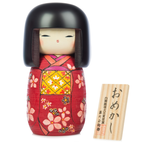 Large Premium Red Floral Japanese Kokeshi Doll