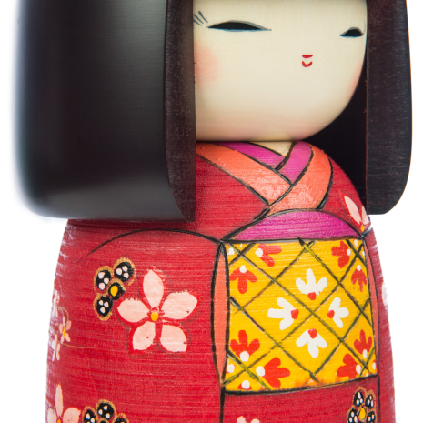 Large Premium Red Floral Japanese Kokeshi Doll detail