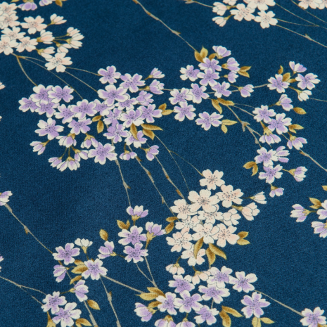 Navy Cherry Blossom Japanese Handkerchief detail