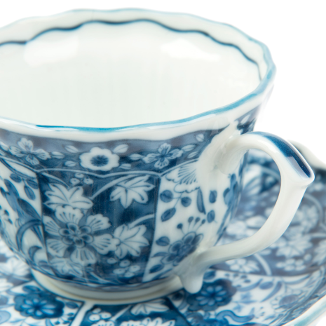 Sarasa Japanese Tea Cup and Saucer detail