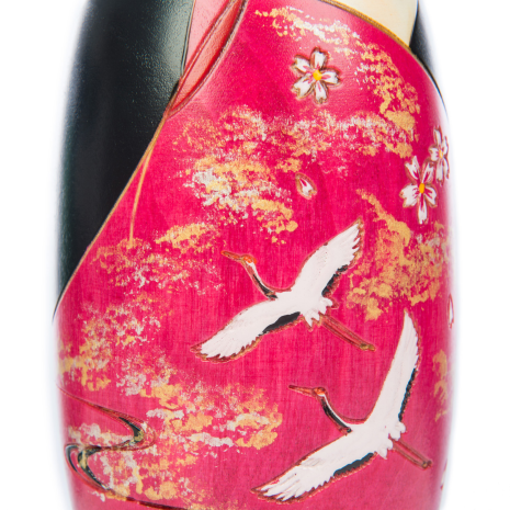 Two Cranes in Love Japanese Kokeshi Doll detail