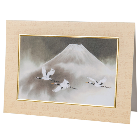 Large Cranes and Mount Fuji Japanese Card