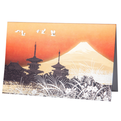 Mount Fuji and the Temples Japanese Card