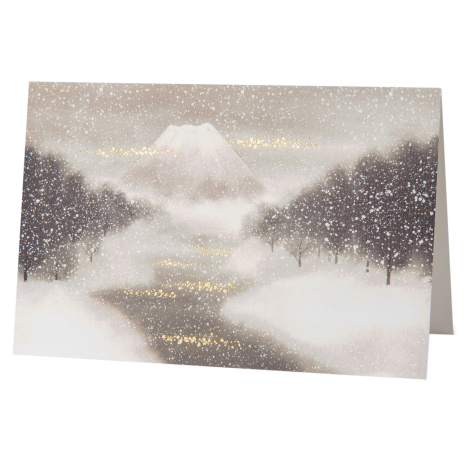Snowy Mount Fuji Japanese Christmas Card