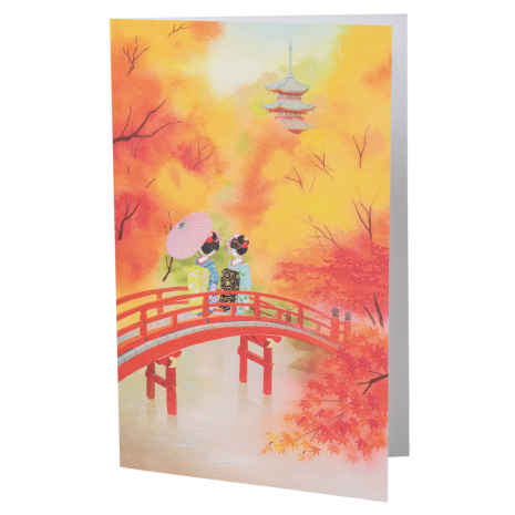 Two Pretty Geisha Girls Japanese Card