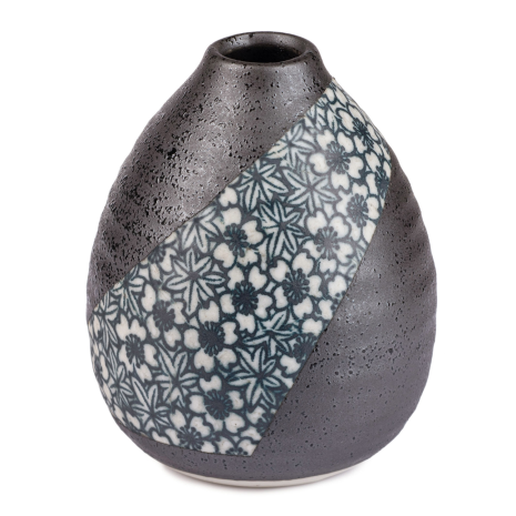 Charcoal Floral Mini Japanese Vase