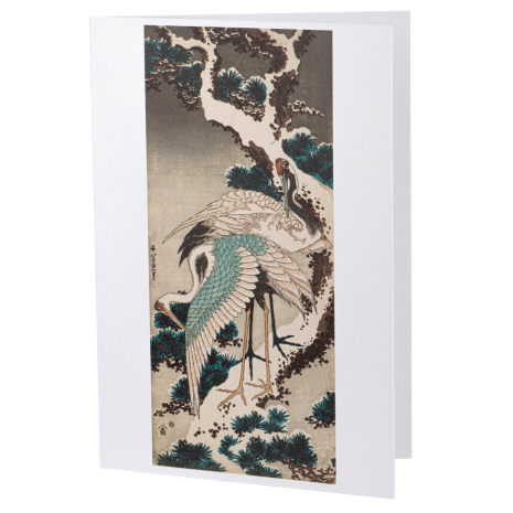 Cranes on a Snow Covered Pine Japanese Card