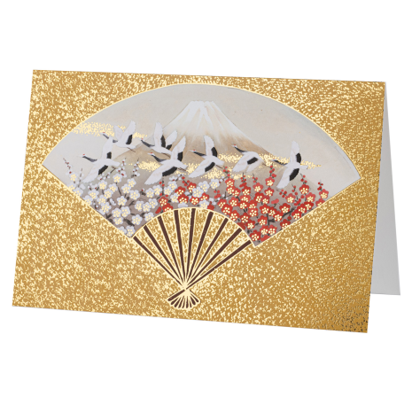 Gold Fan Mount Fuji and Cranes Japanese Card
