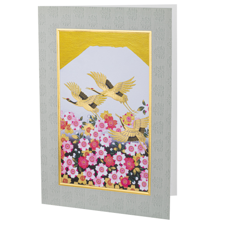 Large Cherry Blossom and Cranes Japanese Card