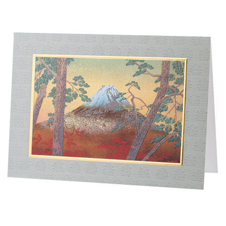 Large Snow Capped Mount Fuji Japanese Card