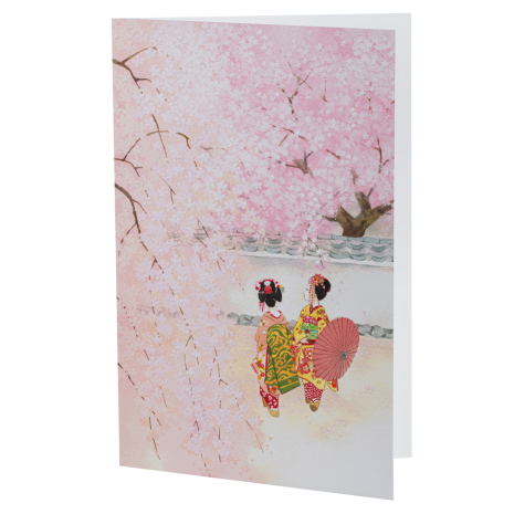 Maiko Viewing Cherry Blossom Japanese Card