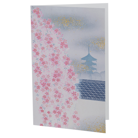 Pink Cherry Blossom and Temple Japanese Card