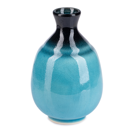 Sea Blue Crackleglaze Japanese Sake Pot