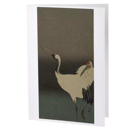 Two Cranes in Love Japanese Notecard