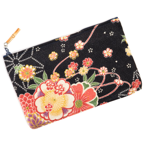 Black Flower Japanese Pouch Bag