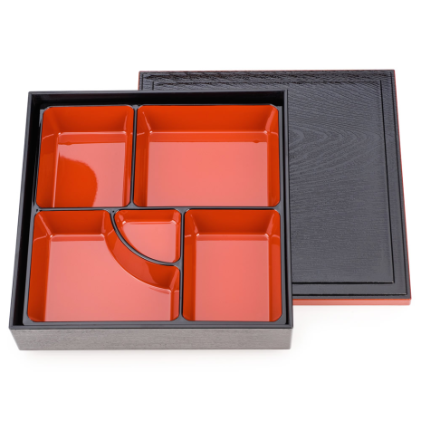 Black and Red Lacquer Japanese Obento Box open