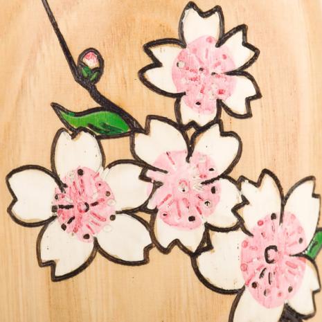 Cherry Blossom Natural Wood Kokeshi Doll Close Up