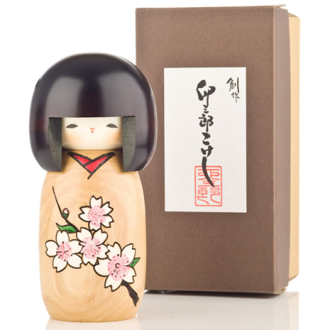 Cherry Blossom Natural Wood Kokeshi Doll Gift Box