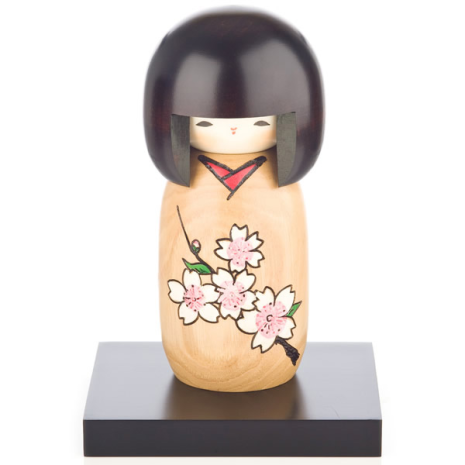 Cherry Blossom Natural Wood Kokeshi Doll Display Base
