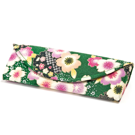 Midori Green Floral Japanese Spectacle Case
