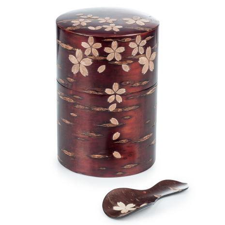 Cherry Bark Handmade Japanese Tea Caddy Set