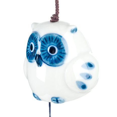 Lucky Owl Ceramic Japanese Wind Chime side