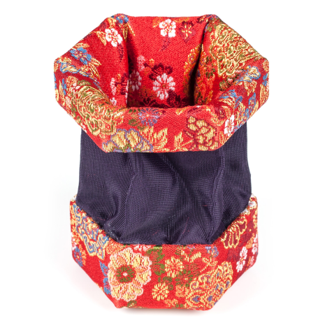Red Floral Traditional Japanese Jewellery Box open