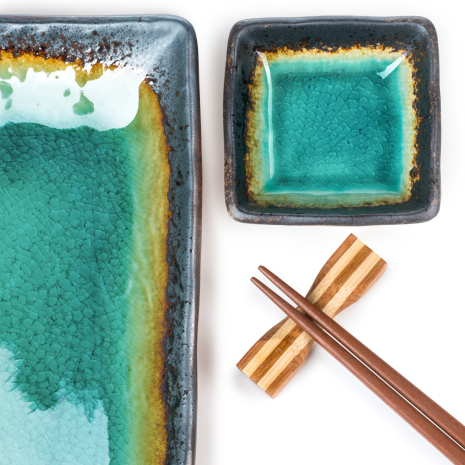 Turquoise Crackleglaze Oblong Plate Set detail