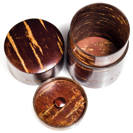 Large Cherry Bark Japanese Tea Caddy arial view