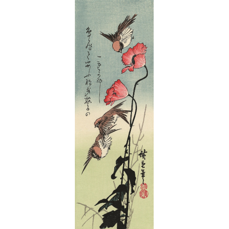 Sparrows and Poppies Hiroshige Woodblock Print