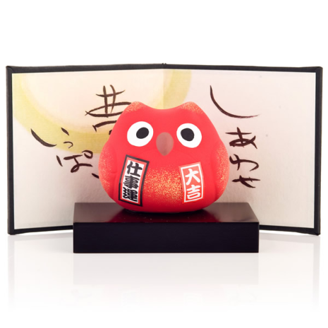 Feng Shui Work Japanese Lucky Owl with base and screen