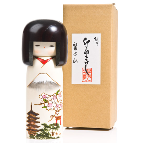 Mount Fuji Japanese Wood Kokeshi Doll Gift Box