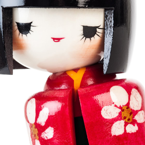 Japanese Maiden Authentic Kokeshi Doll Close Up