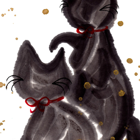 Cats In Love Black Frame A5 Japanese Print zoom
