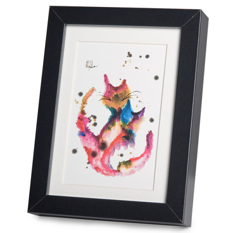 Happy Cats Black Frame A5 Japanese Print