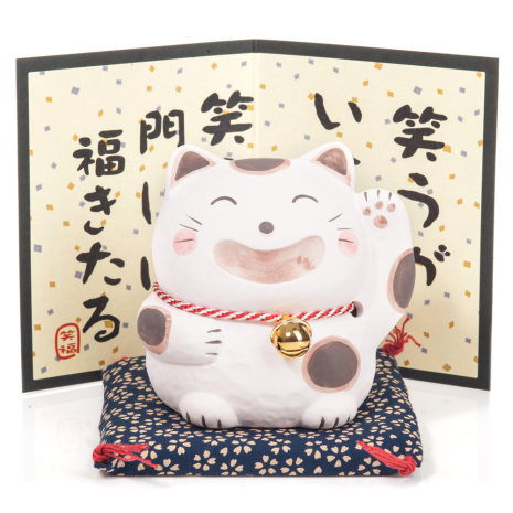 Big Smile White Japanese Lucky Cat