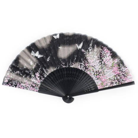 Black Butterfly Japanese Folding Fan open