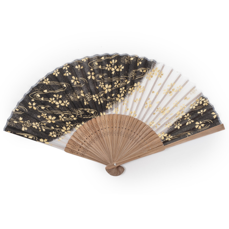Black Cherry Blossom Japanese Folding Fan open