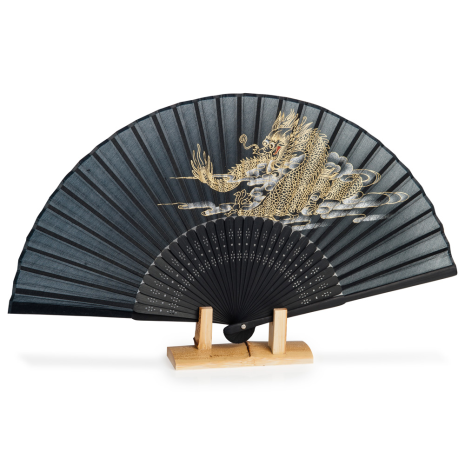 Black Dragon Japanese Folding Fan with stand