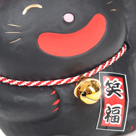 Big Smile Black Japanese Lucky Cat close up