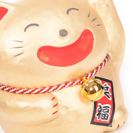 Big Smile Gold Japanese Lucky Cat close up