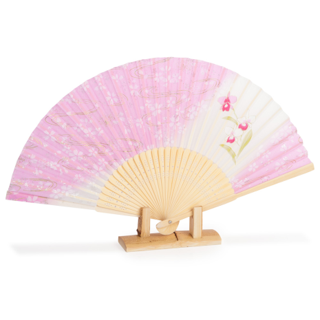 Pink Cherry Blossom Japanese Folding Fan with stand
