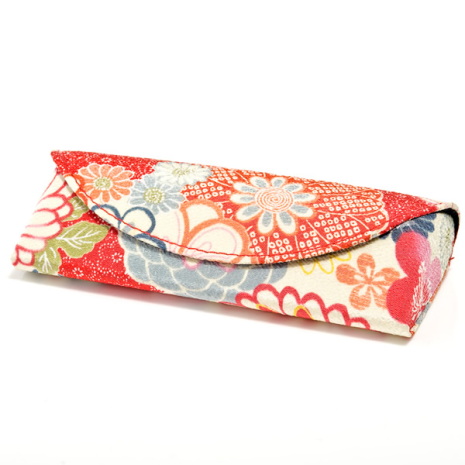 Aka Red Floral Japanese Glasses Case