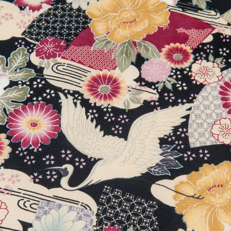 Small Black Crane Japanese Furoshiki zoom